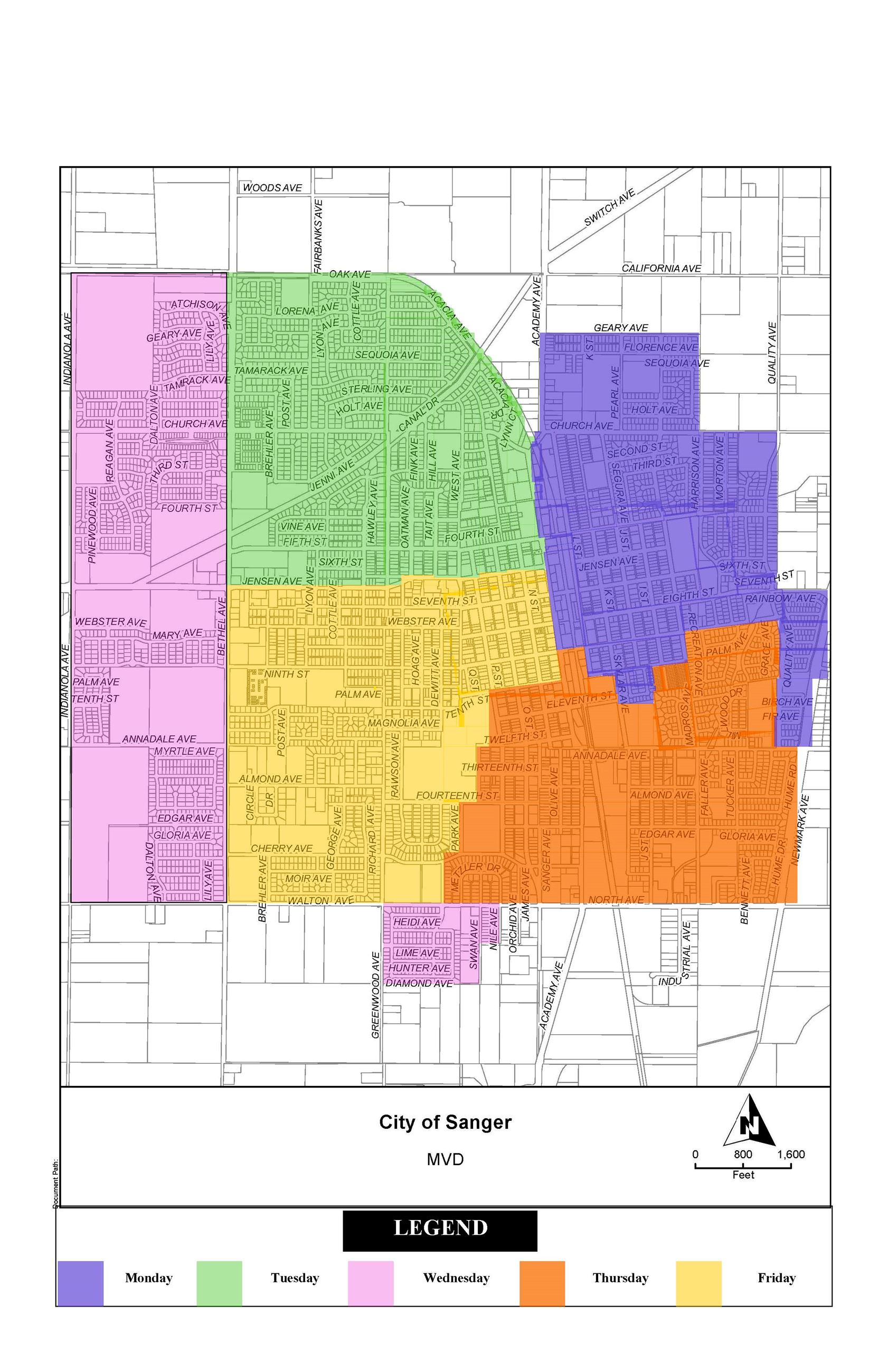 City of Sanger Garbage Collection Schedule Map - 2012 (JPG) Opens in new window